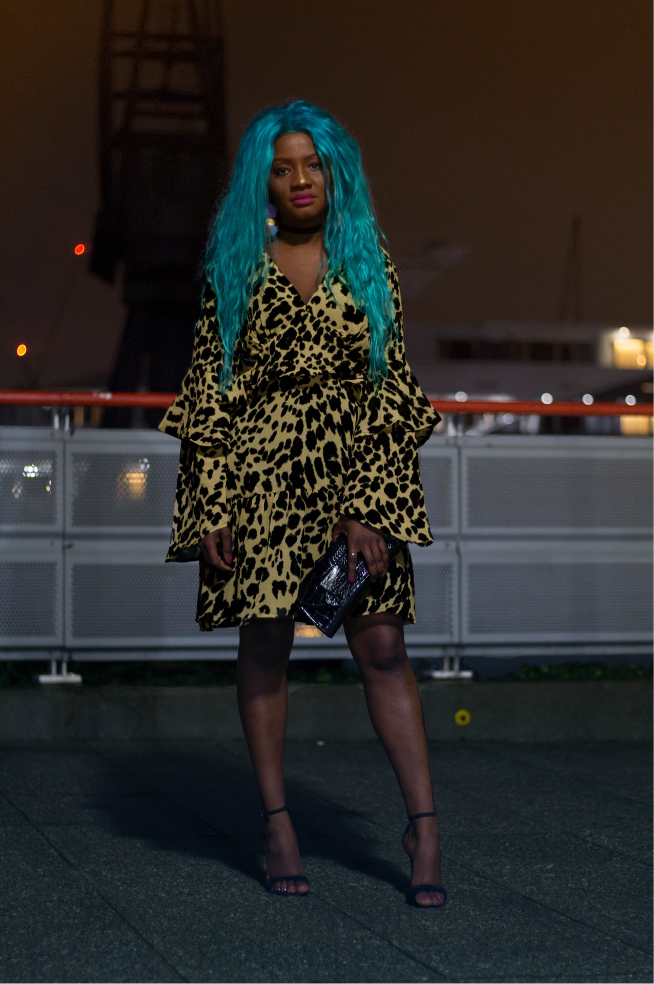Mariama Rebecca in leopard print dress from nastygal