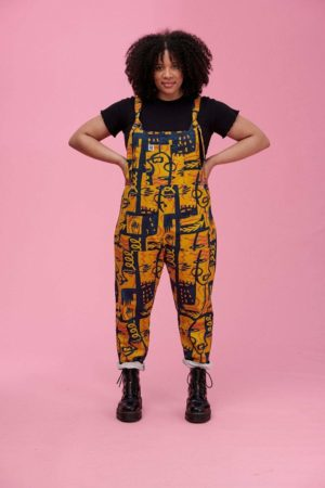 'Lola' Limited Edition Organic Cotton Dungarees with Abstract Face Print